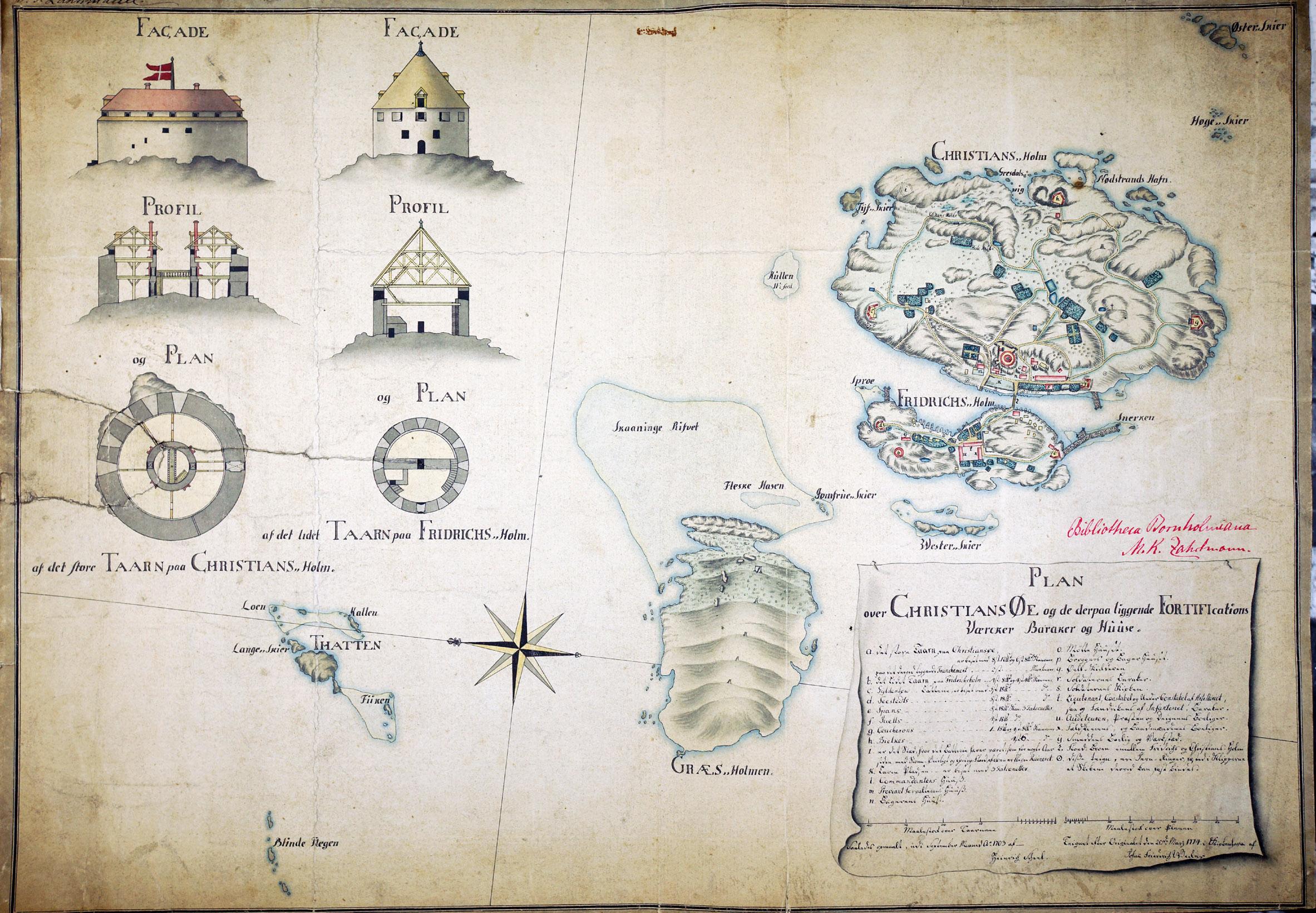 Scheels kort over Christiansø, 1703. Original i M.K.Zahrtmanns arkiv på Bornholms Ø-arkiv