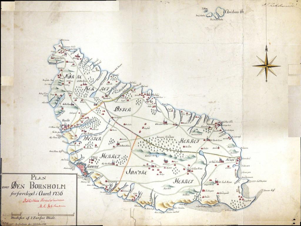 Bornholm 1736. Kopieret af J.F.Wecker 1781. M.K.Zarhrtmanns arkiv, Ø-arkivet.