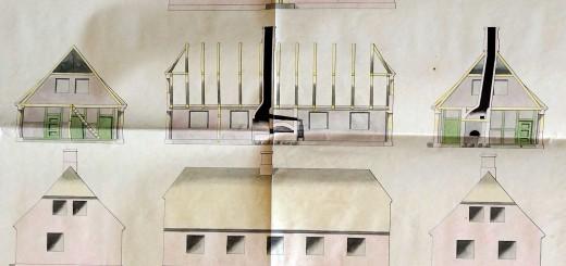 Udsnit af planche udfærdiget af Kancelliet i 1829. Tegningerne skulle bruges som model for lokal skolebyggeri.