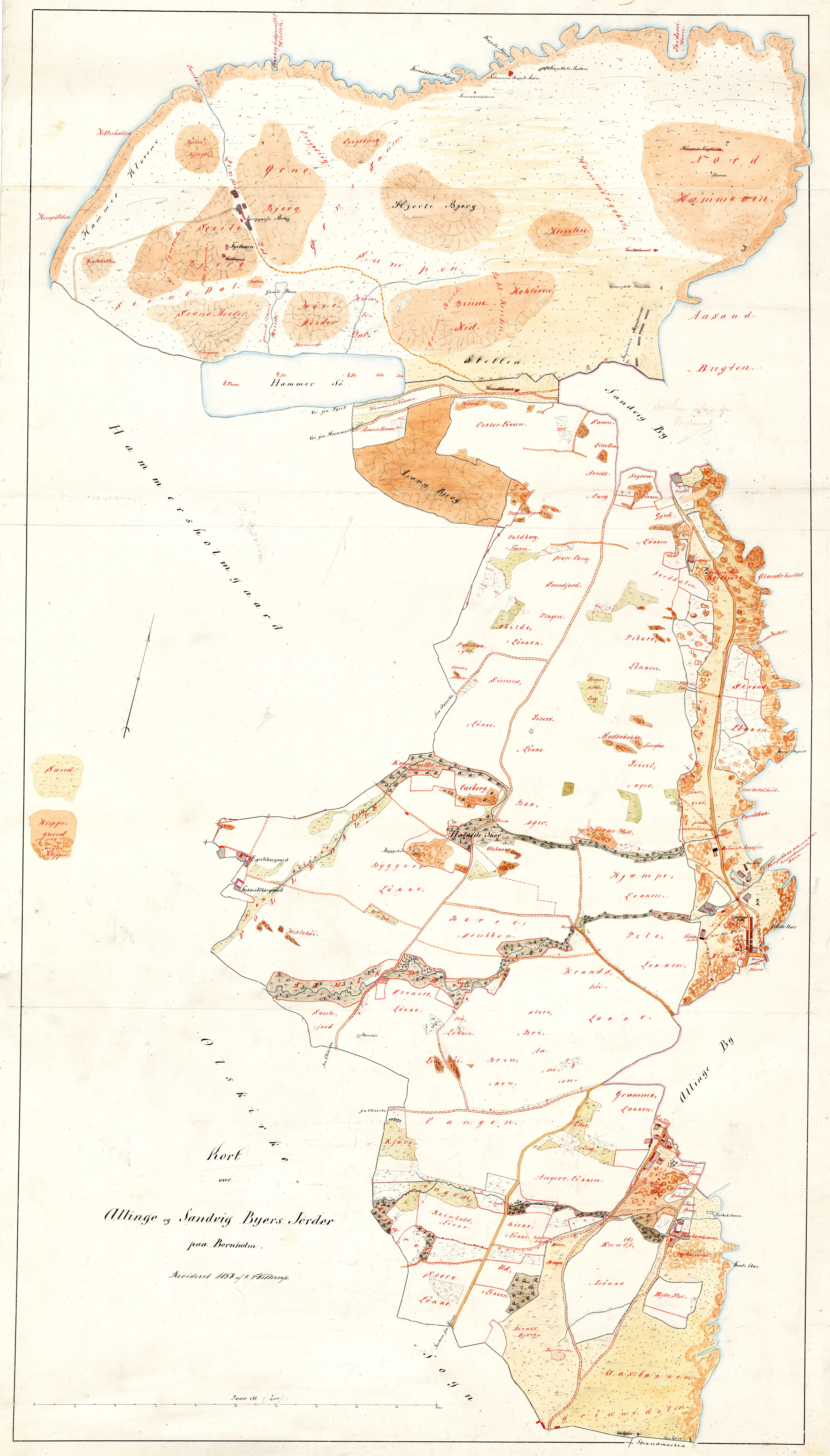 C.F.Willerups opmåling af Allinge og Sandvig byers jorder 1858