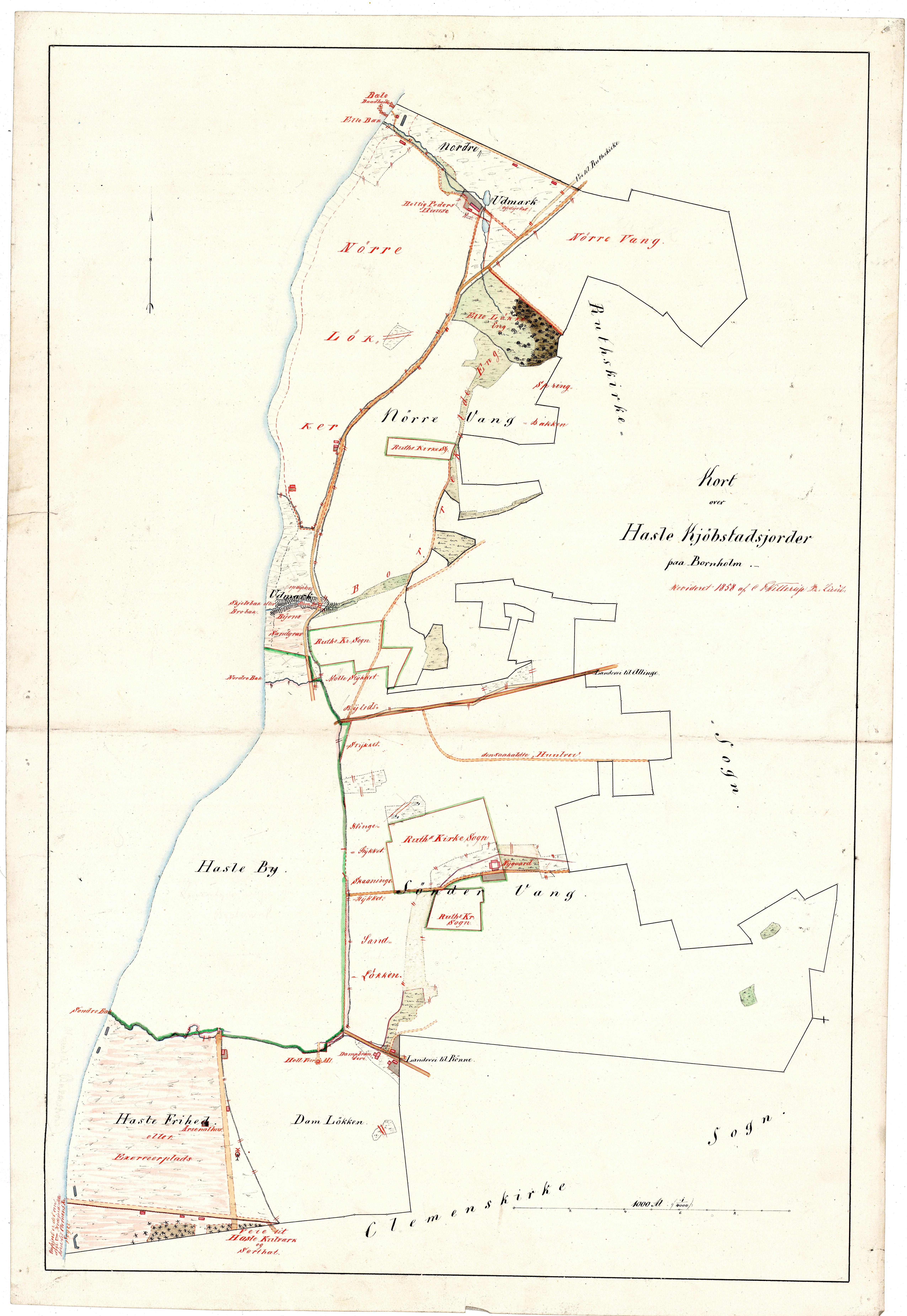 C.F.Willerups opmåling af Hasle købstads jorder 1858