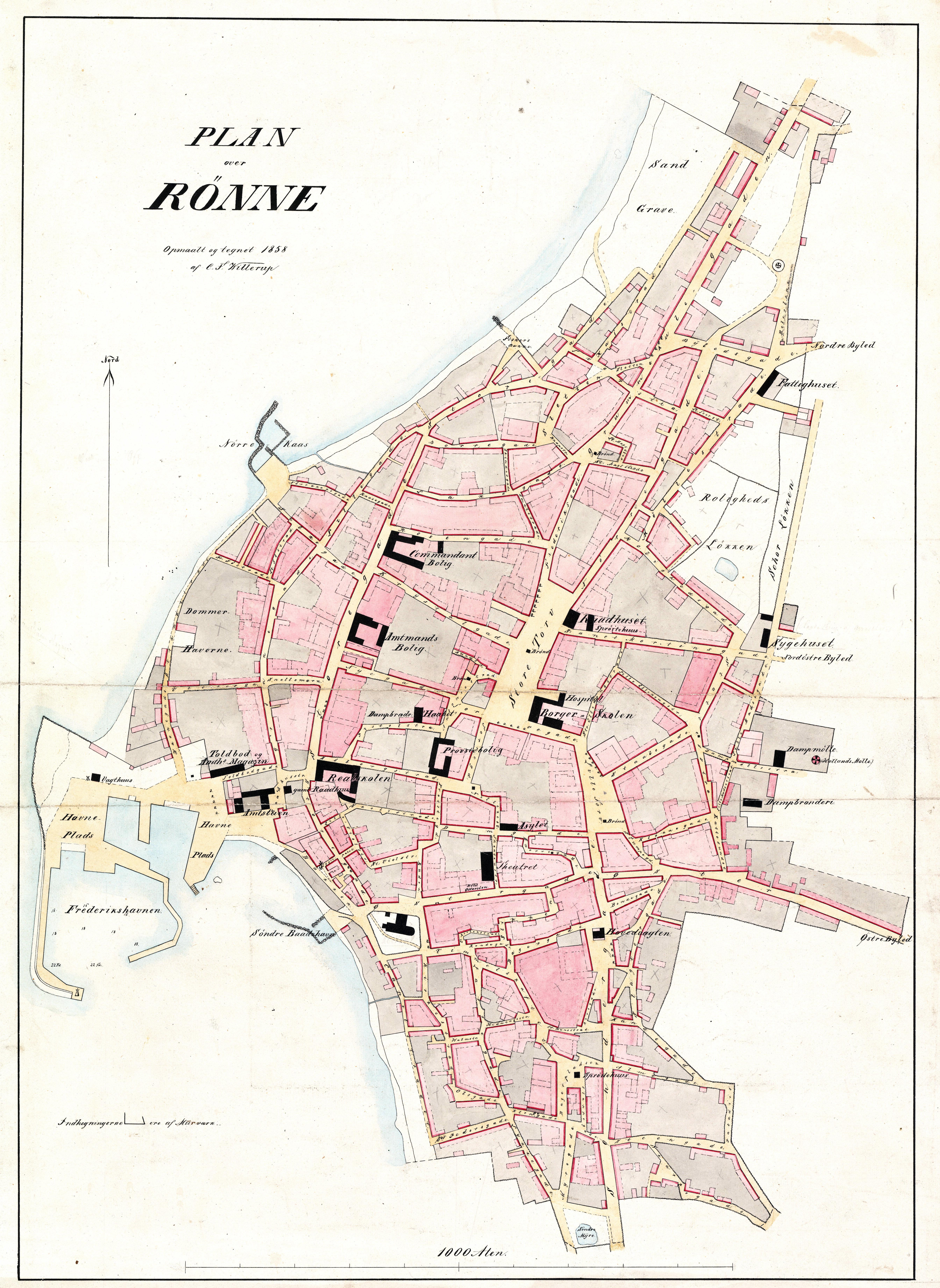 C.F.Willerups opmåling af Rønne købstad 1858