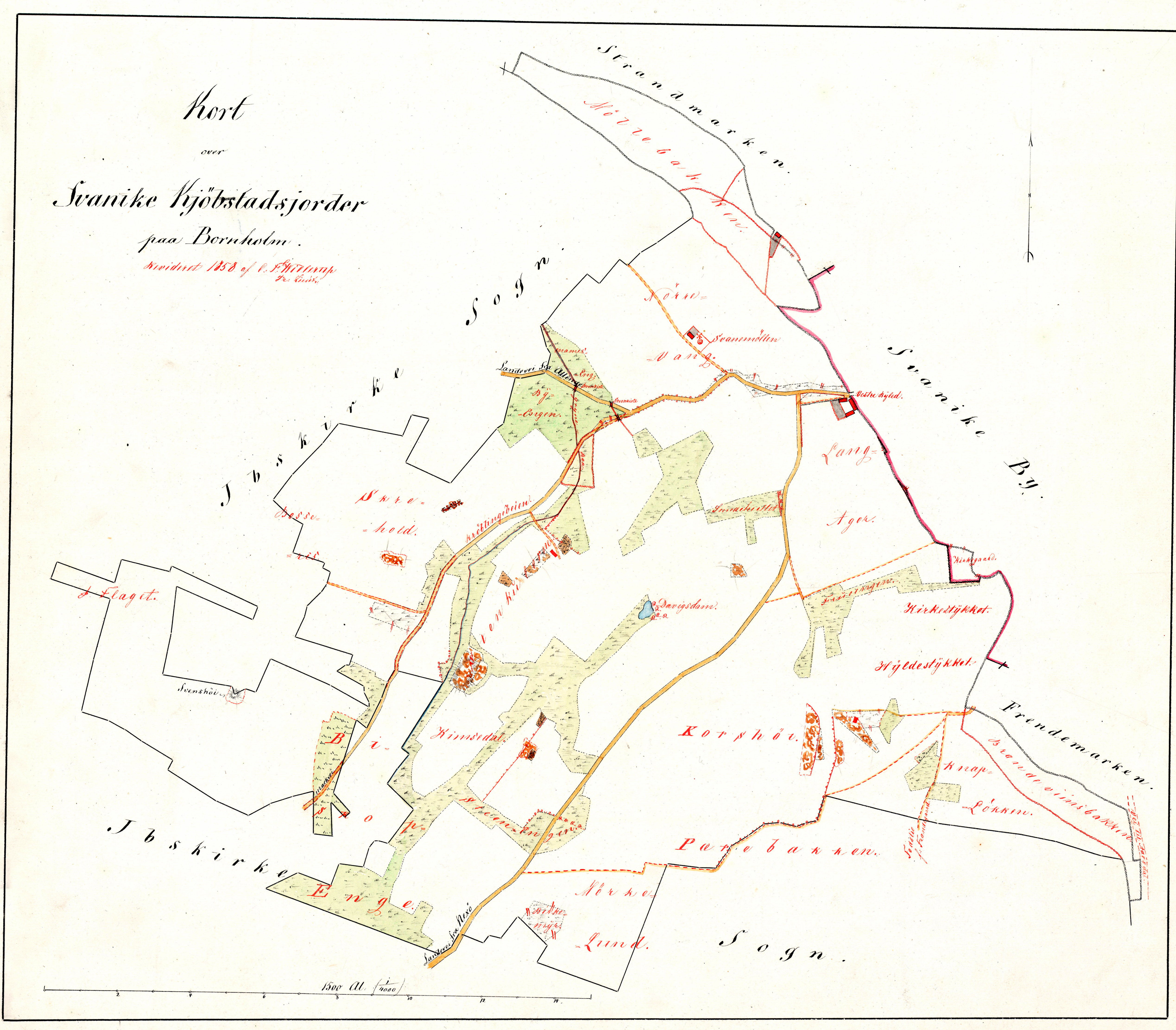 C.F.Willerups opmåling af Svaneke købstads jorder 1858