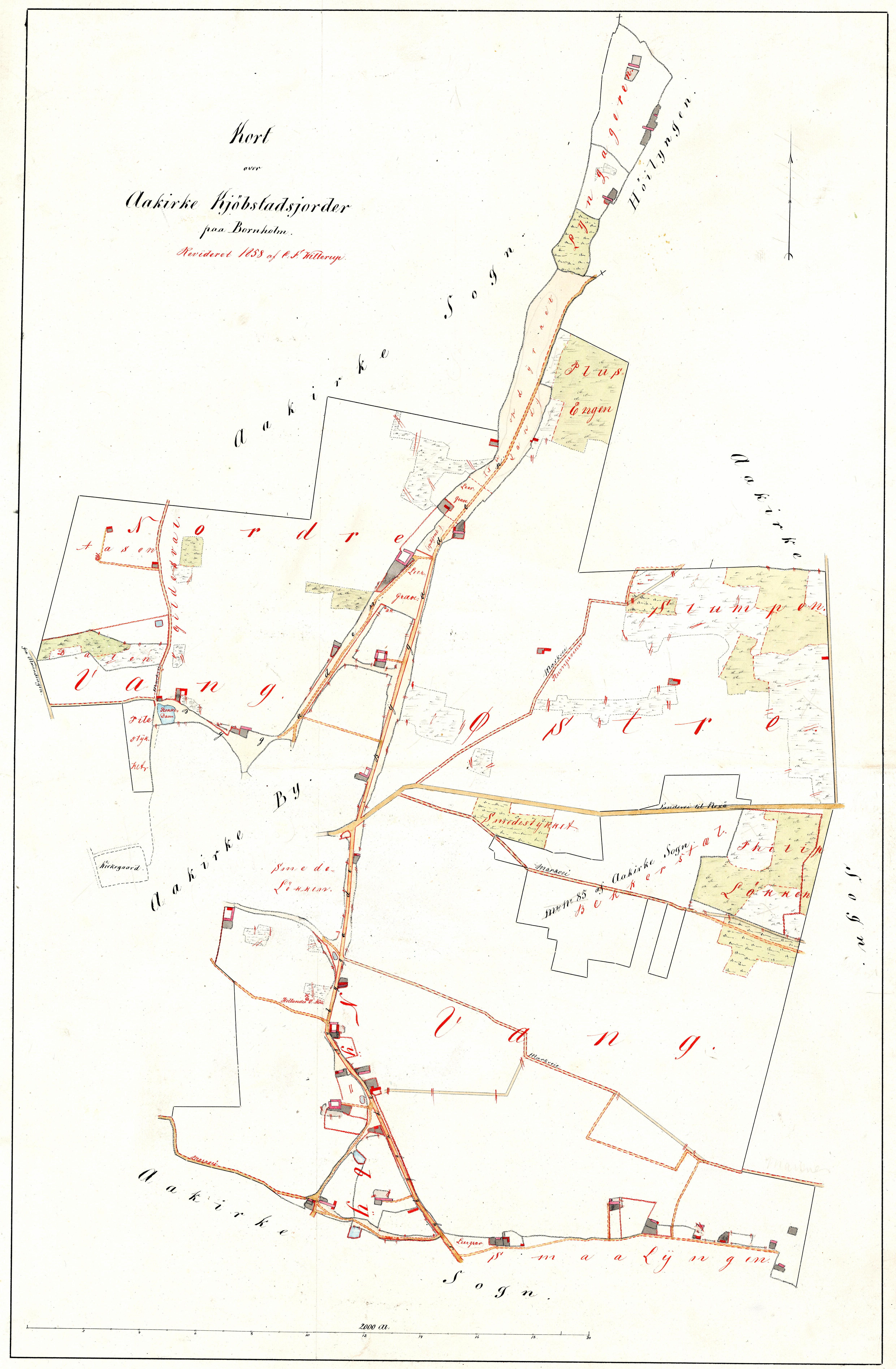 C.F.Willerups opmåling af Aakirke købstads jorder 1858