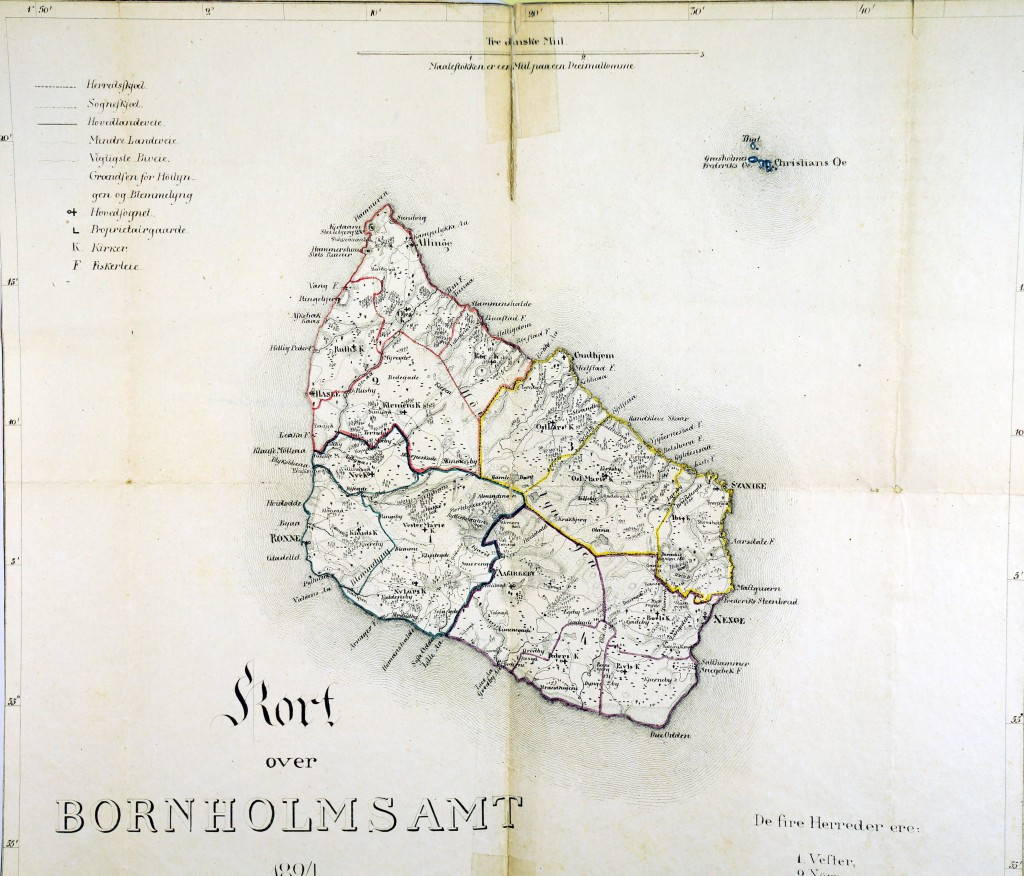Amtskort med sogne sognegrænser, 1894. M.K.Zahrtmanns arkiv på Bornholms Ø-arkiv