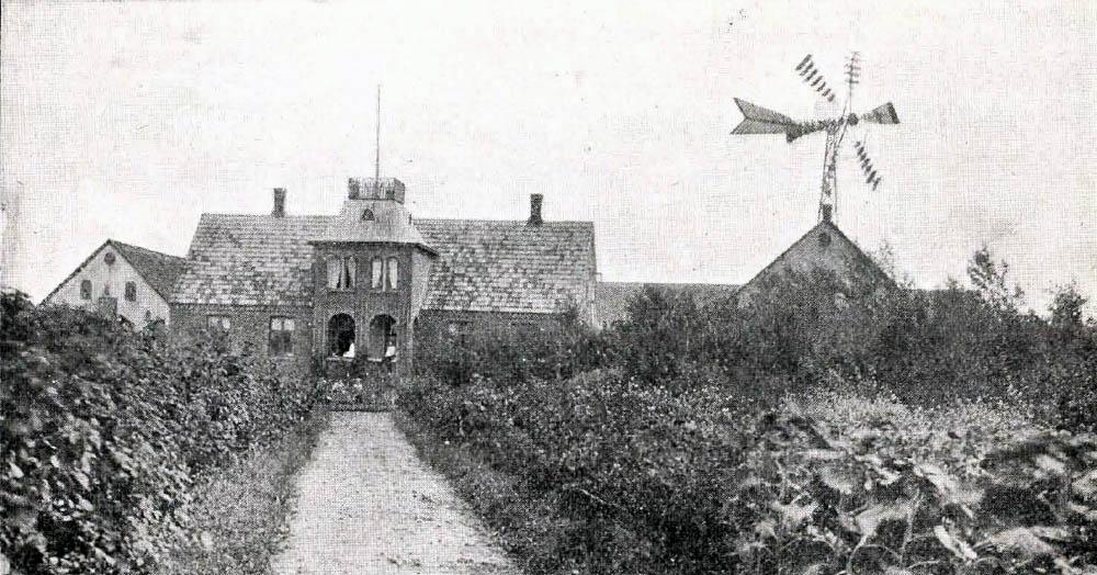 Lyngholt i Klemensker - Hovedbygning er opført af Grundmur og tækket med Tegl. Avlslængerne er af Beton med Spaantage med Undtagelse af Laden, der er af Træ.