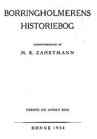 Zarthmanns Borringholmerens Historiebog I 1