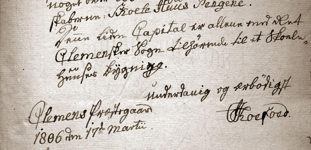 Sognepræst Jørgen Koefoed skriver til amtmand Thaarup