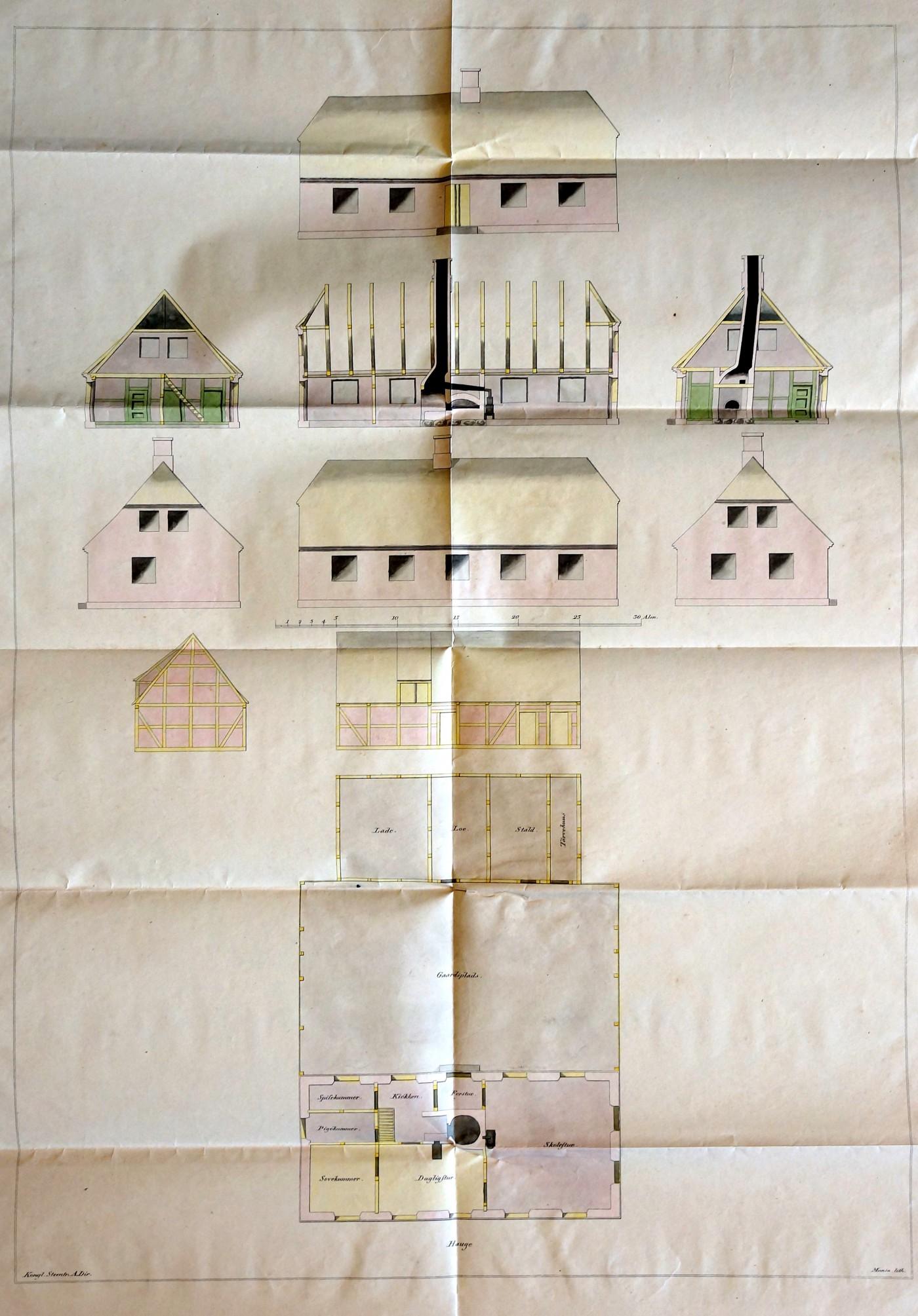 Kancelliets planche blev udsendt i 1829 til amtsskoledirektionerne som model for de ny lokale skoler.